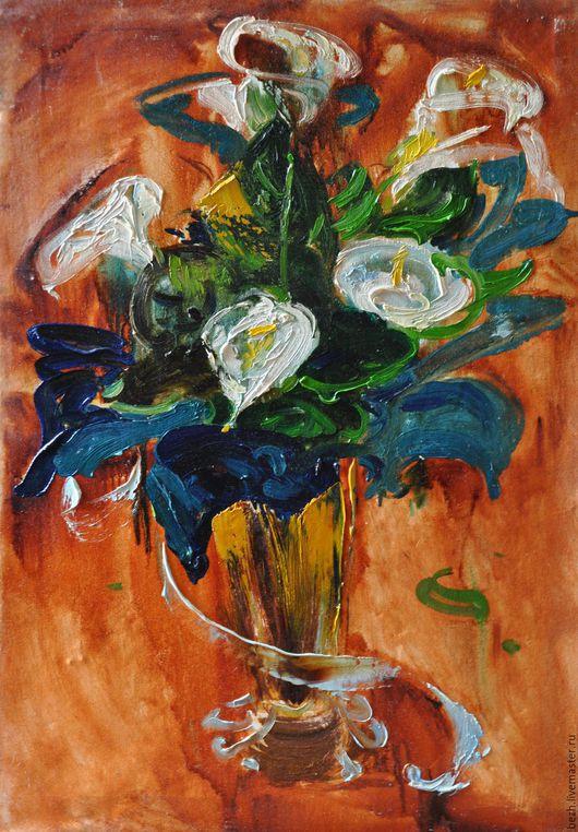 Картины цветов ручной работы. Ярмарка Мастеров - ручная работа. Купить 89х65 Каллы. Handmade. Цветы каллы, цветы в интерьере