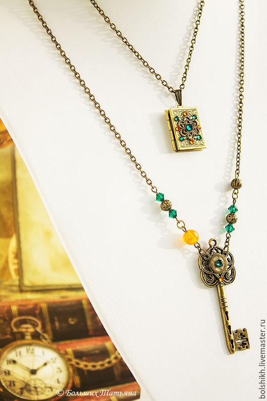 Медальон, кулон ключ, стимпанк, стимпанк кулон. Винтажный стиль, винтаж. Больших Татьяна.