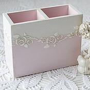 Канцелярские товары ручной работы. Ярмарка Мастеров - ручная работа карандашница бело-розовая. Handmade.