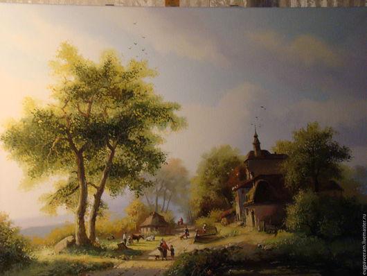 Пейзаж ручной работы. Ярмарка Мастеров - ручная работа. Купить голландский пейзаж. Handmade. Хаки, холст на подрамнике, картина в подарок