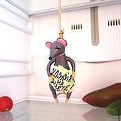 """Сувениры и подарки ручной работы. Ярмарка Мастеров - ручная работа Мышь в холодильник """"Хозяйка на диете!"""". Handmade."""
