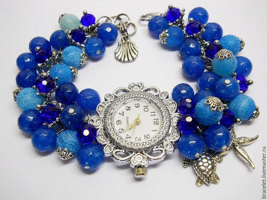 """Часы ручной работы. Ярмарка Мастеров - ручная работа. Купить Часы браслет наручные женские """"Морская волна"""".. Handmade. Часы"""