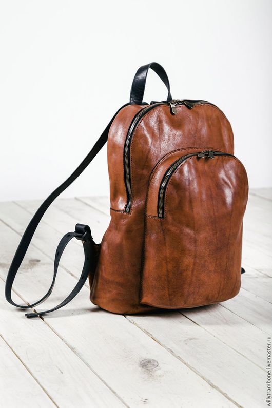 Рюкзаки ручной работы. Ярмарка Мастеров - ручная работа. Купить Double zip backpack. Handmade. Кожаный рюкзак