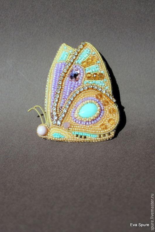 """Броши ручной работы. Ярмарка Мастеров - ручная работа. Купить Брошь-бабочка """"Бирюзовый глаз"""". Handmade. Комбинированный, бисер японский"""