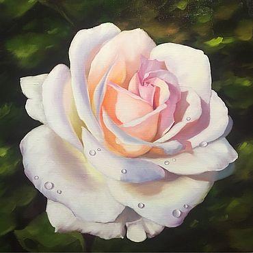 Картины и панно ручной работы. Ярмарка Мастеров - ручная работа Картина маслом «Белая роза». Handmade.