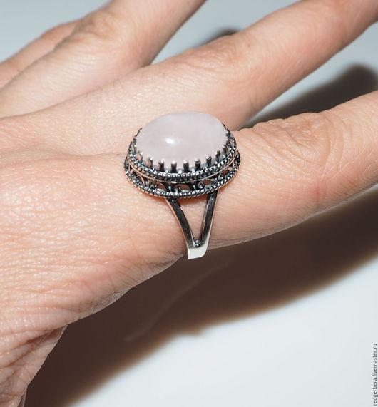 """Кольца ручной работы. Ярмарка Мастеров - ручная работа. Купить Кольцо """"Мария"""" розовый кварц, серебро 925 пробы. Handmade."""