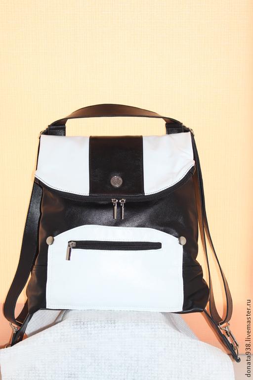 Рюкзаки ручной работы. Ярмарка Мастеров - ручная работа. Купить Рюкзак трансформер. Handmade. Чёрно-белый, сумка ручной работы