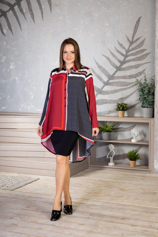 Viscose blouse ' Red and grey polka dots', Blouses, Novosibirsk,  Фото №1