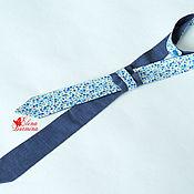 Галстуки ручной работы. Ярмарка Мастеров - ручная работа Женский галстук двухсторонний серо-синий, хлопок. Handmade.