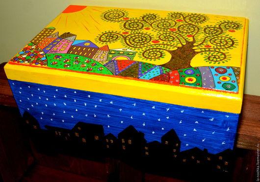 """Шкатулки ручной работы. Ярмарка Мастеров - ручная работа. Купить Шкатулка """"Древо Счастья и Радости"""". Handmade. Комбинированный, Роспись по дереву"""