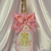 """Декор макси-бутылки """"С рождением дочки!"""""""