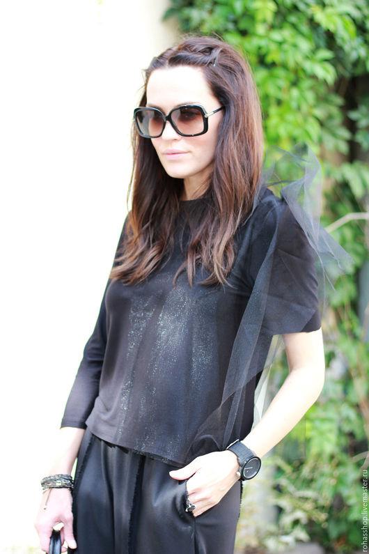 R00091 Стильная трикотажная кофточка с фатином. Черная блуза для вечеринки, ужина. Красивая одежда. Уникальный дизайн. Кофточка на каждый день из трикотажного хлопка