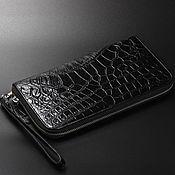 Сумки и аксессуары handmade. Livemaster - original item Men`s clutch bag crocodile zipper closure with hand strap. Handmade.