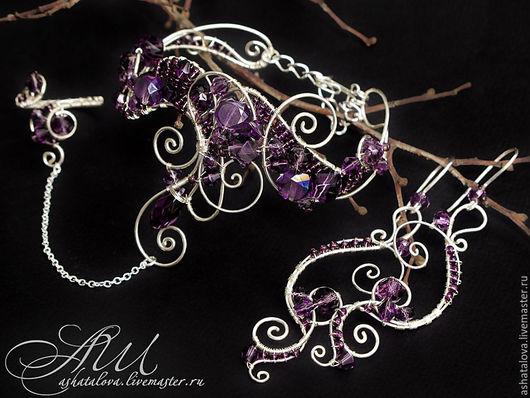 """Комплекты украшений ручной работы. Ярмарка Мастеров - ручная работа. Купить Комплект """"Мимолетные сны"""" (серьги, слейв-браслет ) wire wrap. Handmade."""