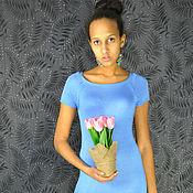 Одежда ручной работы. Ярмарка Мастеров - ручная работа Платье голубое из вискозы и бамбука. Handmade.
