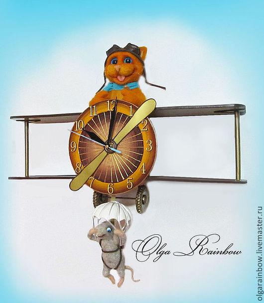 """Часы для дома ручной работы. Ярмарка Мастеров - ручная работа. Купить Часы с маятником """"Крутое пике"""". Handmade. Самолет"""