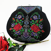 Сумки и аксессуары handmade. Livemaster - original item Black suede bag, embroidered handbag, chain bag, embroidery. Handmade.