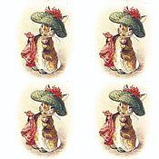 Салфетки для декупажа ручной работы. Ярмарка Мастеров - ручная работа Салфетка Зайка в шляпе ( беатрикс). Handmade.