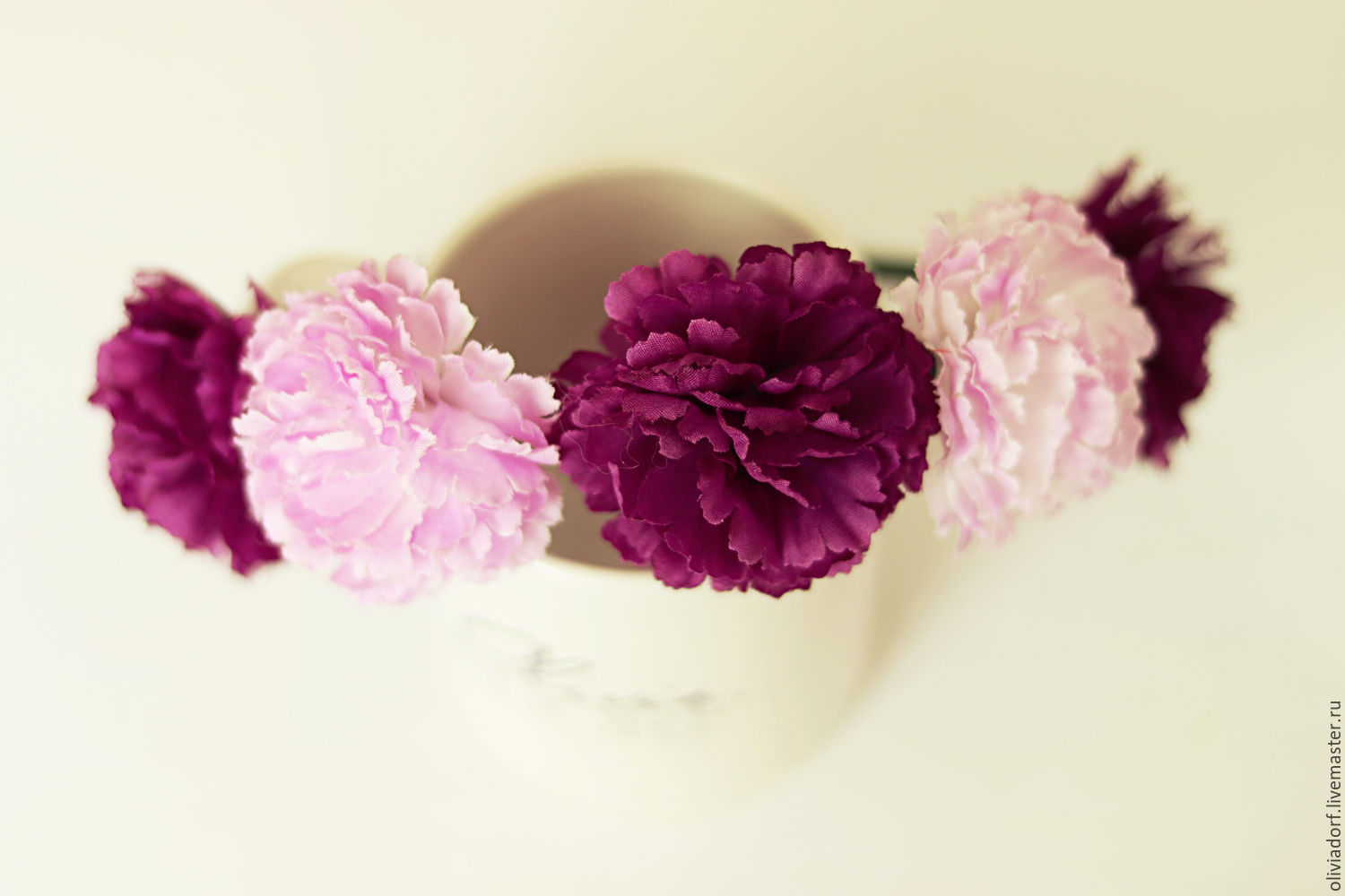 Handmade Flower Crown With Violet Flowers Wedding Accessory