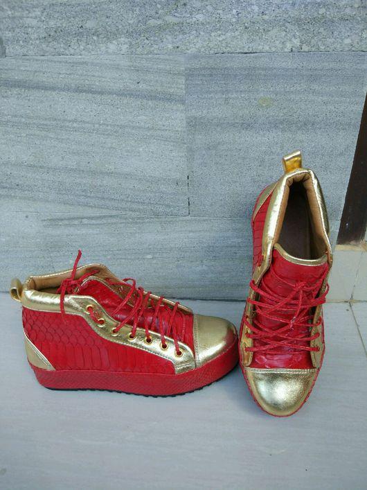 Обувь ручной работы. Ярмарка Мастеров - ручная работа. Купить Кеды из кожи питона. РАСПРОДАЖА. Handmade. Кеды из кожи питона