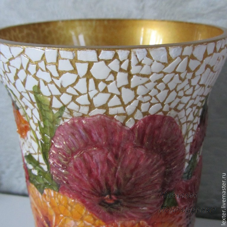 Вазы ручной работы. Стеклянная ваза  Виолы