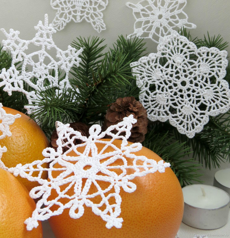 Снежинки вязаные, елочное украшение, снежинки крючком ...