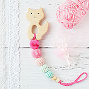 Одежда handmade. Livemaster - original item Teether-teething toy with a cat (or Fox) mint-pink. Handmade.