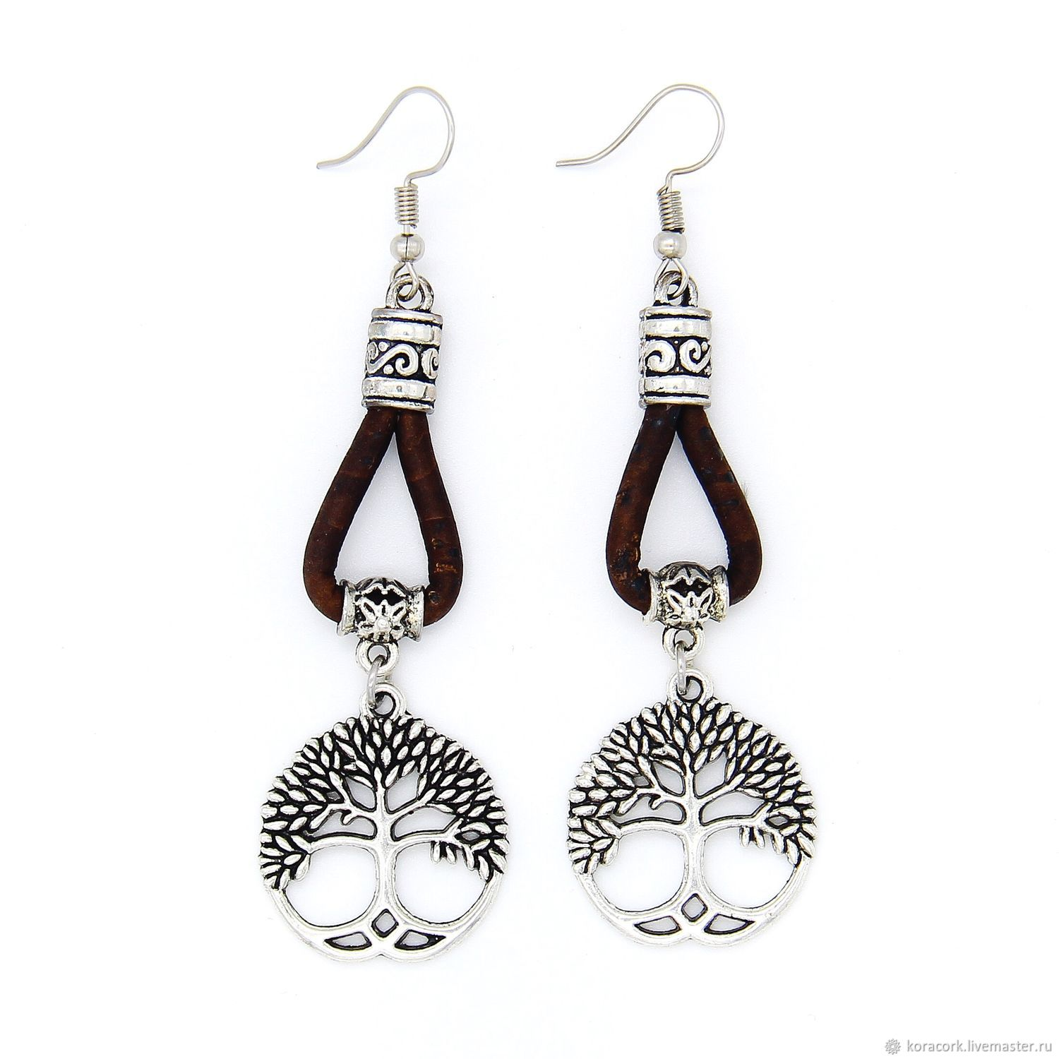 Tree of life earrings from Portuguese cork Br0092bl, Earrings, Moscow,  Фото №1