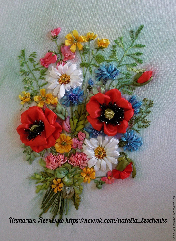 Букет полевых цветов вышивка лентами