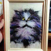 Картины и панно ручной работы. Ярмарка Мастеров - ручная работа Шерстяной котик. Handmade.