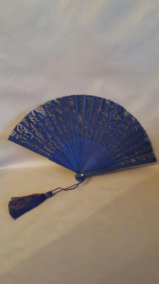 Веера ручной работы. Ярмарка Мастеров - ручная работа. Купить Веер кружевной синий. Handmade. Веер, кружевной веер, цветочный