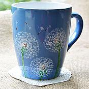 Посуда ручной работы. Ярмарка Мастеров - ручная работа Кружка с одуванчиками, летняя кружка, чашка с одуванчиками. Handmade.