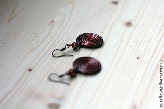 Серьги ручной работы. Ярмарка Мастеров - ручная работа. Купить Спиральные серьги. Handmade. Коричневый, канделябр, улитка, сережки