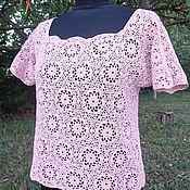 Одежда ручной работы. Ярмарка Мастеров - ручная работа блуза крючком Розовый кварц. Handmade.