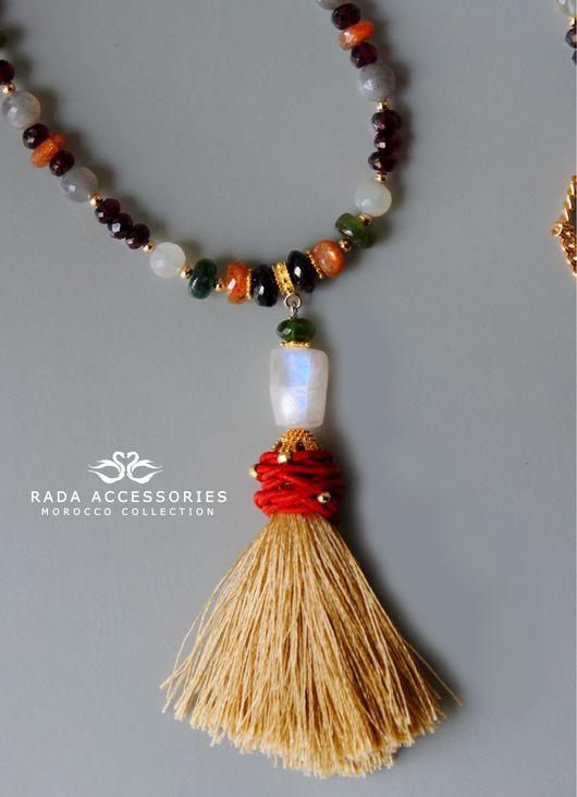 Колье, бусы ручной работы. Ярмарка Мастеров - ручная работа. Купить Сотуар из альмандина, адуляра, солнечного камня и турмалина. Handmade.