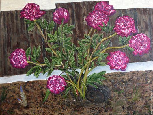 Картины цветов ручной работы. Ярмарка Мастеров - ручная работа. Купить Пионы. Handmade. Комбинированный, пионы, пион, пионы маслом