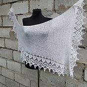 Аксессуары handmade. Livemaster - original item Scarf Fishue Bactus Openwork Shawl With Knitting Needles Katerina White. Handmade.