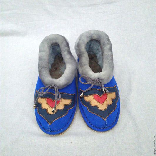 Обувь ручной работы. Ярмарка Мастеров - ручная работа. Купить Полуботинки из овчины 4. Handmade. Тапочки домашние, тапочки для дома