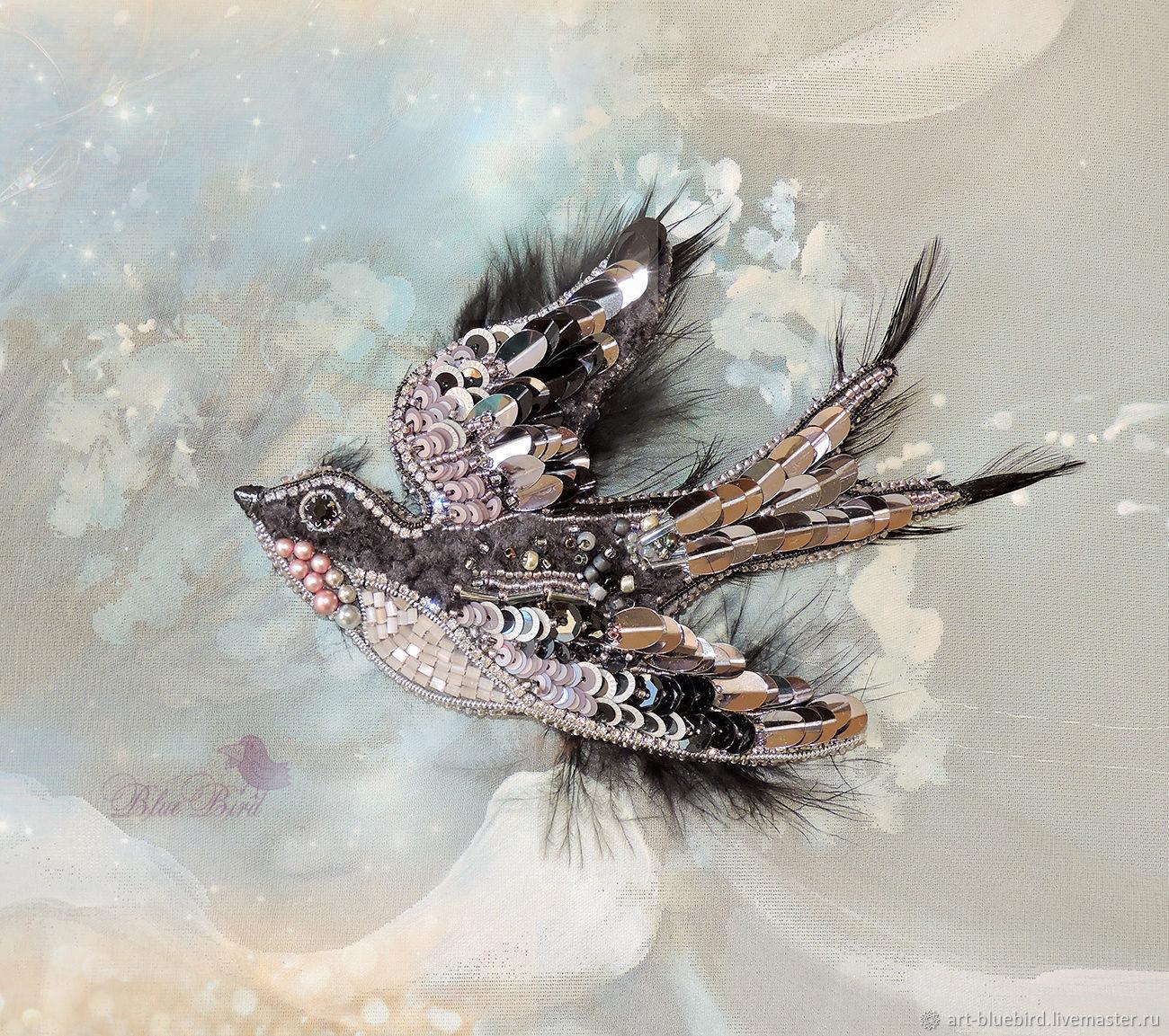 Брошь Ласточка, брошь птица, брошка с птицей, брошь бисером, украшения, Брошь-булавка, Находка,  Фото №1