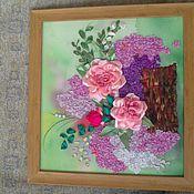 Картины и панно ручной работы. Ярмарка Мастеров - ручная работа Нежная сирень и страстные розы. Handmade.