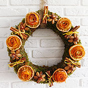 Подарки к праздникам handmade. Livemaster - original item Interior Christmas wreath with Orange Roses. Handmade.