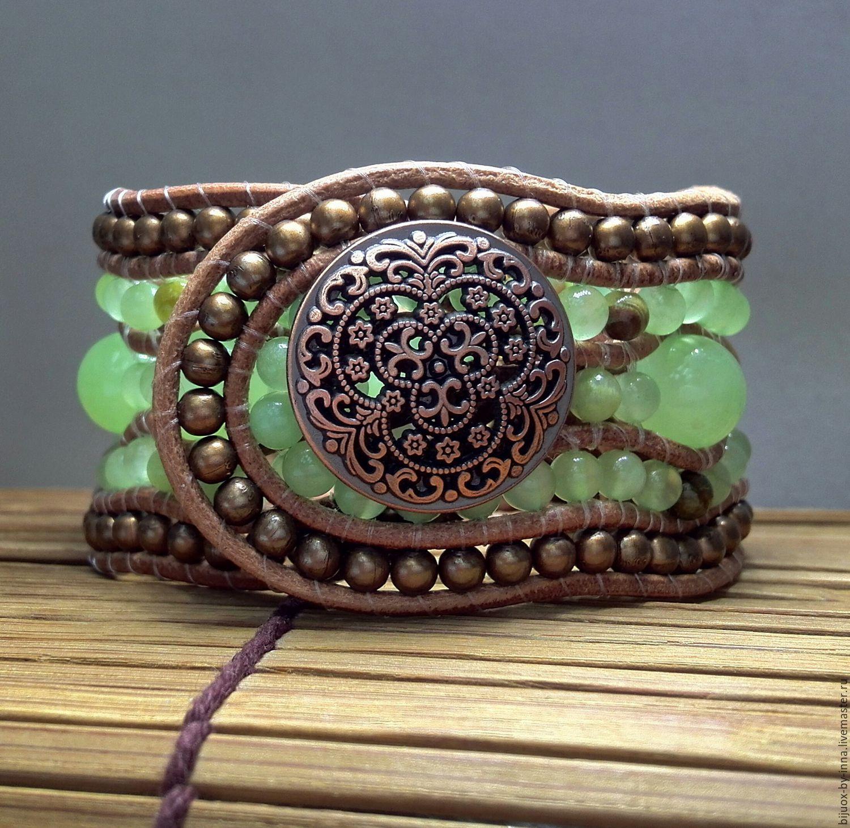 Beaded Bracelet. 5 Row Leather Cuff Bracelet.  Onyx Stone Beaded Bracelet. Boho Bracelet. Leather Jewelry Gifts