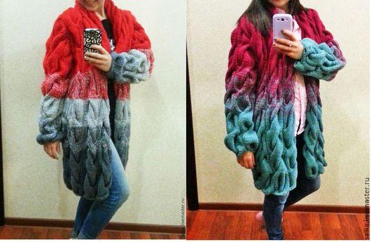 Верхняя одежда ручной работы. Ярмарка Мастеров - ручная работа. Купить Кардиган или вязаное пальто .. Handmade. Косы
