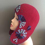 handmade. Livemaster - original item Hat-earflaps burgundy-blue. Handmade.
