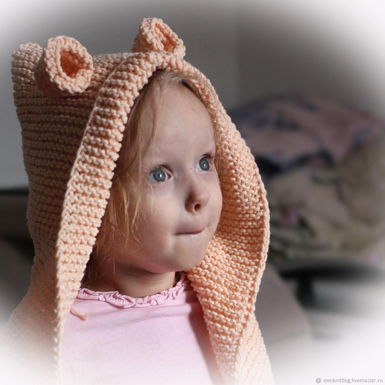 Кардиган вязаный детский с капюшоном и ушками