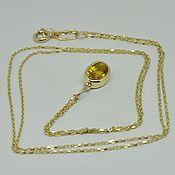 handmade. Livemaster - original item Pendant of yellow gold with yellow sapphire. Handmade.