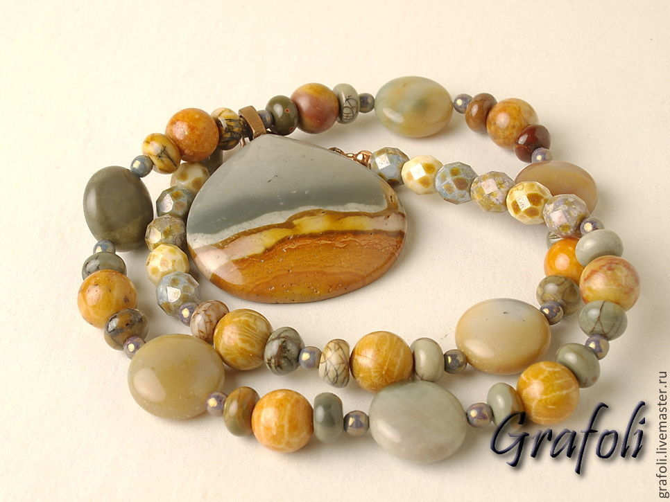 Long Jasper beads with pendant, Necklace, Moscow,  Фото №1