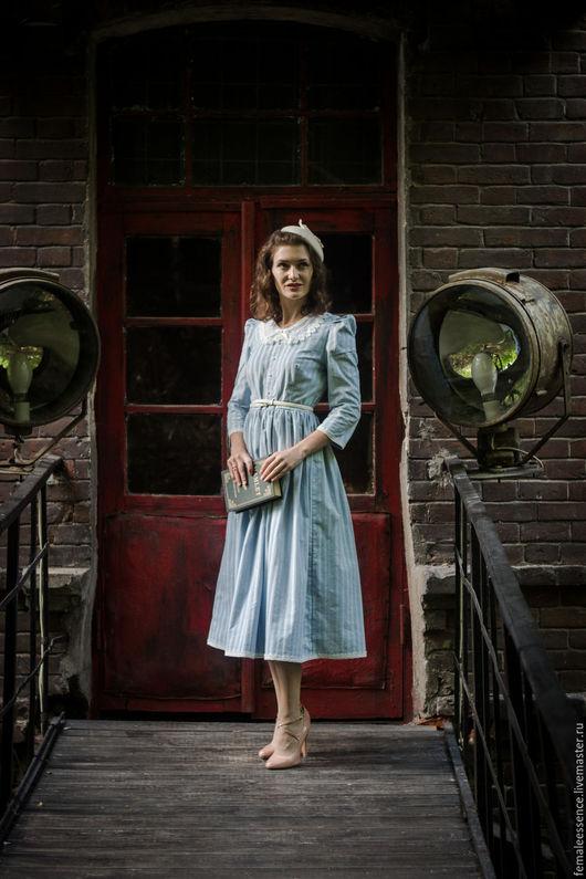 Платья ручной работы. Ярмарка Мастеров - ручная работа. Купить Голубое бархатное ретро платье. Handmade. Голубой, кружево