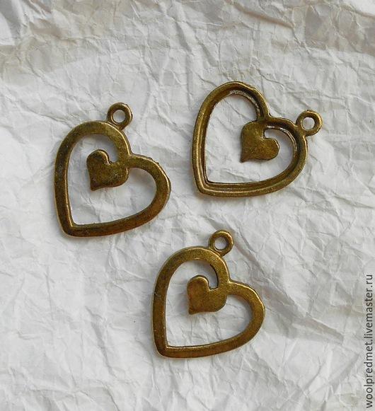 Для украшений ручной работы. Ярмарка Мастеров - ручная работа. Купить Двойное сердце подвеска. Handmade. Подвеска металлическая, сердечко