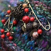 Украшения handmade. Livemaster - original item Brooch pin Autumn forest, coral, Jasper, lava, bronze berry red. Handmade.